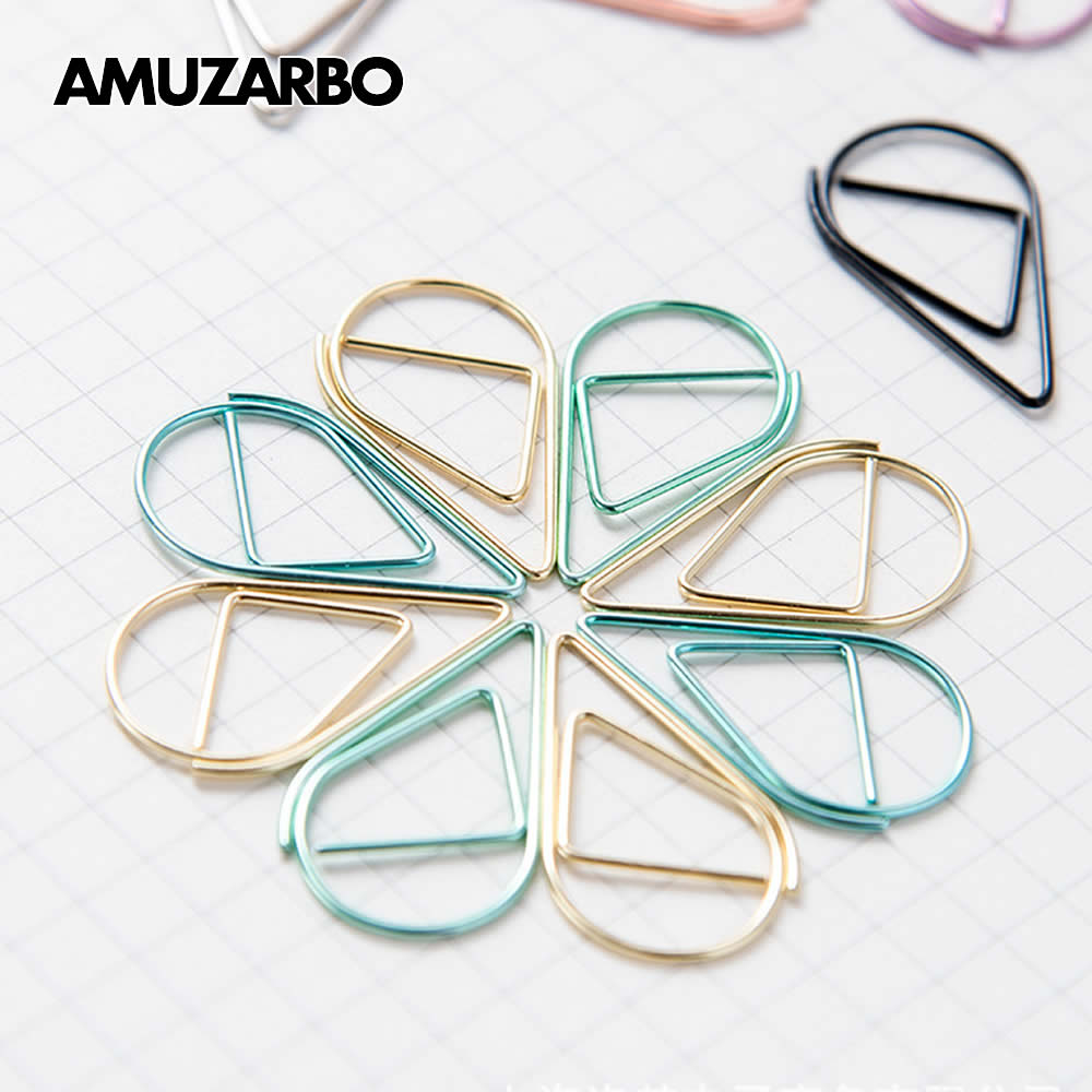 10pcs/pack Cute Colorful Water Droplet Paper Clip Metal Bookmark Rose Gold Pink Silver Paper Clip Holder Stationery Bookmark