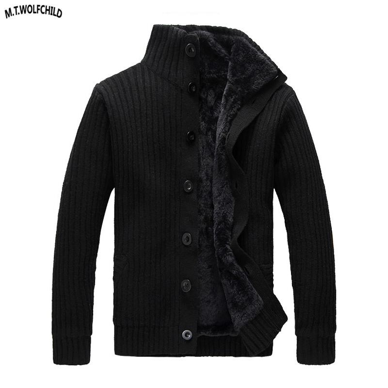 Fashion 2018 Winter Mens stand-collar cardigan fleece thick knitting sweaters casual mens warm knitted coats mens knitted tops