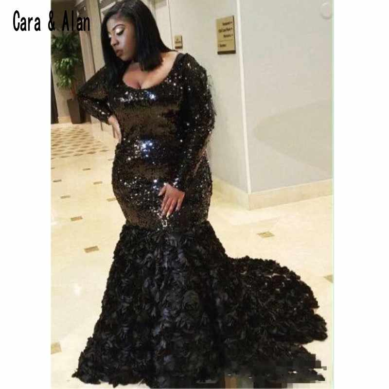 3D Rose Floral Black Girls Plus Size Prom Dresses 2019 Long Sleeve Scoop  Neck Formal Mermaid Sequined Evening Dress