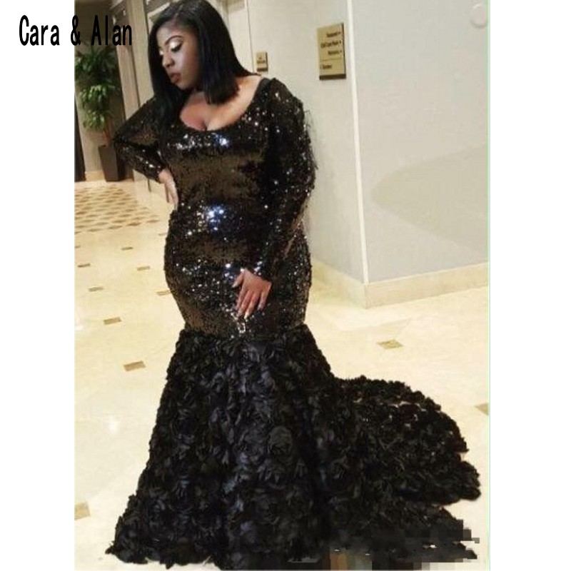 3D Rose Floral Black Girls Plus Size   Prom     Dresses   2019 Long Sleeve Scoop Neck Formal Mermaid Sequined Evening   Dress
