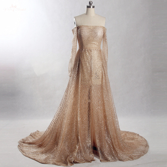 RSE872 Long Sleeves Off The Shoulder Shine Glitter Open Legs Gold Prom Dress 2964f3f40f51