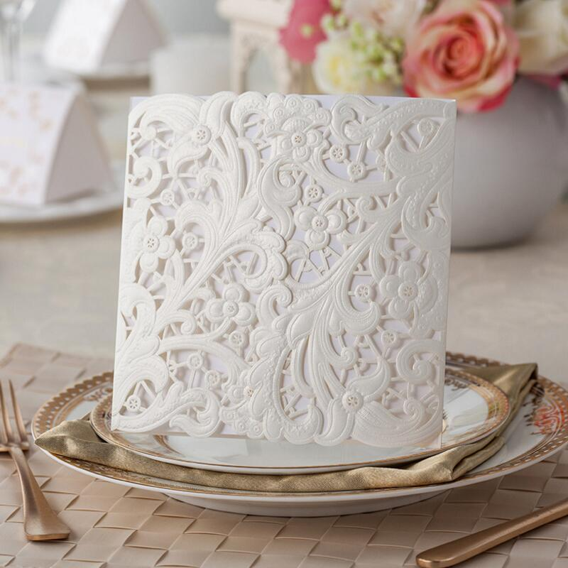 50pcs/pack White Hollow Flora Customizable Laser Cut Engagement Wedding Birthday Party Universal Invitation Free Printing 50pcs pack laser cut wedding invitations cards elegant flowers free printing birthday party invitation card casamento
