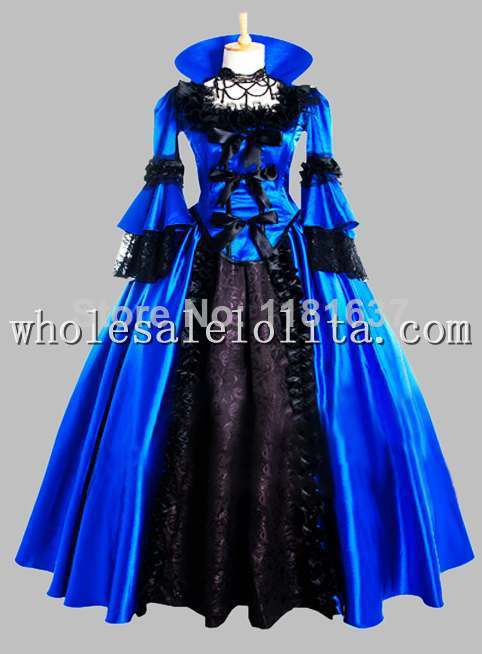 Noble Gothic Black and Blue Victorian 1870/90s Era Dress Ball Gown
