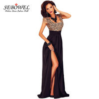 New 2016 Elegant Women Maxi Dress High Split Floor Length Formal Long Dress Sexy Lace Backless