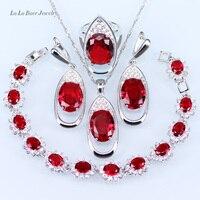L & B 4 Unidades de Plata 925 Sistemas de La Joyería Red Creado Granate Pulsera de cristal de circón Blanco/Colgante/Collar/anillo/Pendientes