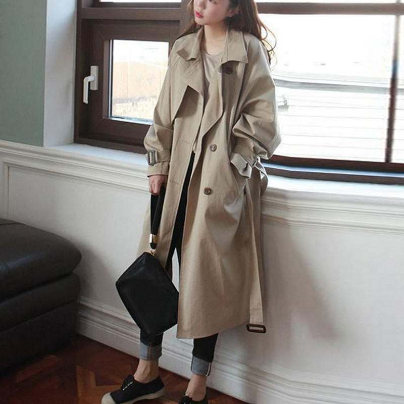 trench   coat female 2018 spring autumn Korean loose Raglan sleeves double-breasted side-split belt overcoat femme A244