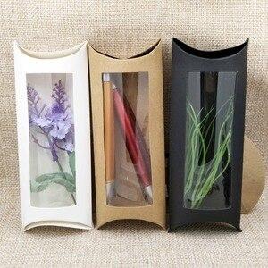 Image 1 - Lot başına 50 adet 16*7*2.4 cm beyaz/kraft/siyah yastık ambalaj kutusu şeker şekeri /hediyeler/ürünler ekran ambalaj açık pencere kutusu
