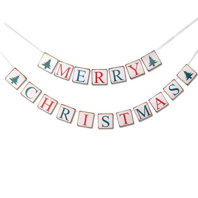 merry christmas banner garland party props retro bunting home holiday decor decorations - Merry Christmas Banner