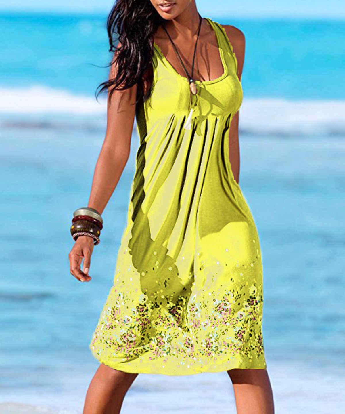 Hirigin Delle Donne di Estate Senza Maniche Boho Beach Sundress Delle Signore Cocktail Party Floreale Del Vestito Più Il Formato