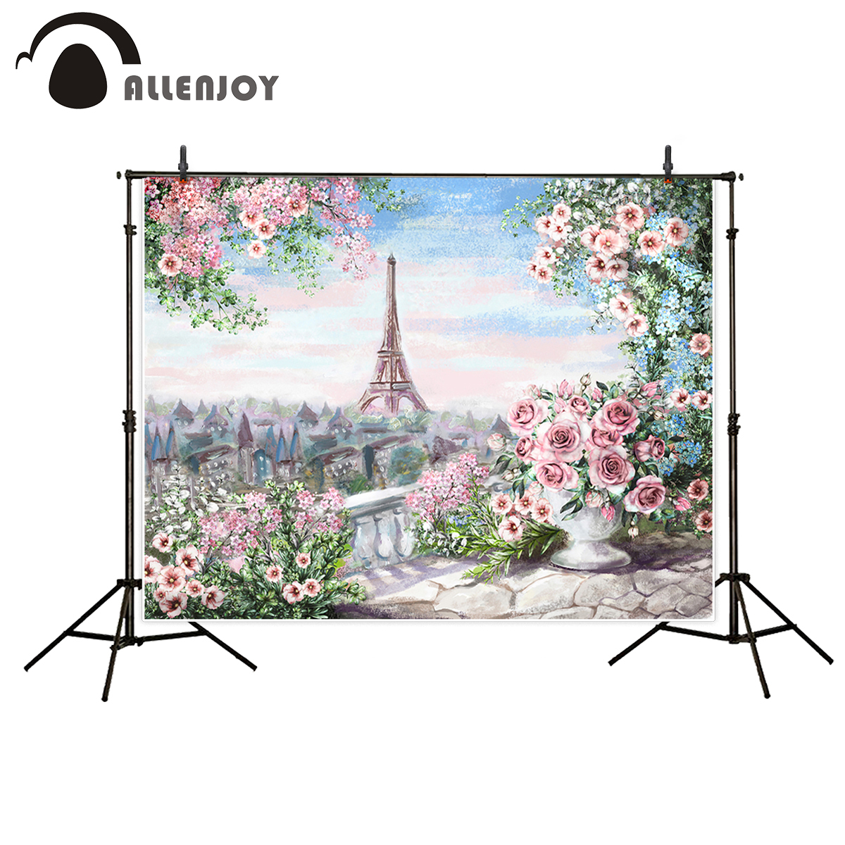 Allenjoy artistic photography with Eiffel tower background romantic aesthetic flower wedding oil painting backrop for photo call