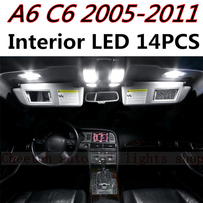 14pcs X free shipping Error Free LED Interior Light Kit Package for Audi A6 C6 accessories 2005-2011