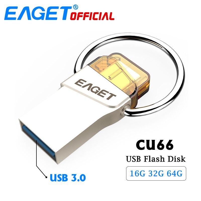 EAGET USB 3.0 Type C USB Flash Drive 64 gb 16g Pen Drive 32 gb Étanche Clé usb Flash Disque bâton pour Huawei Pour Xiaomi Téléphone PC