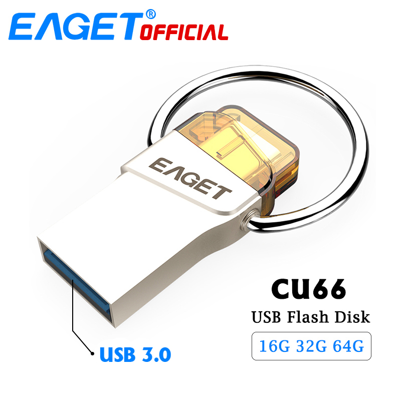 EAGET USB 3.0 Type C USB Flash Drive 64GB 16G Pen Drive 32GB Waterproof Pendrive Flash Disk Stick for Huawei For Xiaomi Phone PC eaget cu10 portable type c 3 1 usb3 0 dual interfaces u disk 32gb