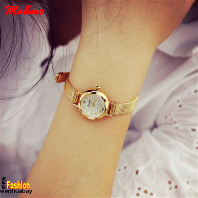 Golden Small Chic Relojes Dial Steel Band Quartz Wrist Watch Gift Girl Women Lady Relogio quartz watch with small diamond dots indicate leather watch band hearts pattern dial for women