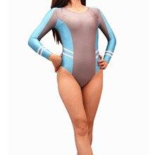 Plus Size Women Panelled Patchwork Long Sleeve Bodysuit Swim
