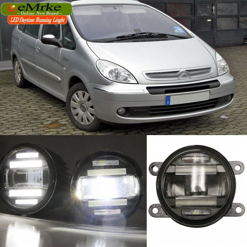eeMrke Car Styling For Citroen Xsara Picasso 2 in 1 Multifunction LED Fog Lights DRL With Lens Daytime Running Lights for citroen c4 picasso ud