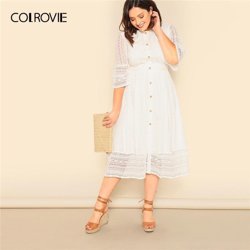 COLROVIE/элегантное женское платье больших размеров с белой пуговицей спереди и кружевной накладкой, лето 2019, с коротким рукавом, с высокой тали...