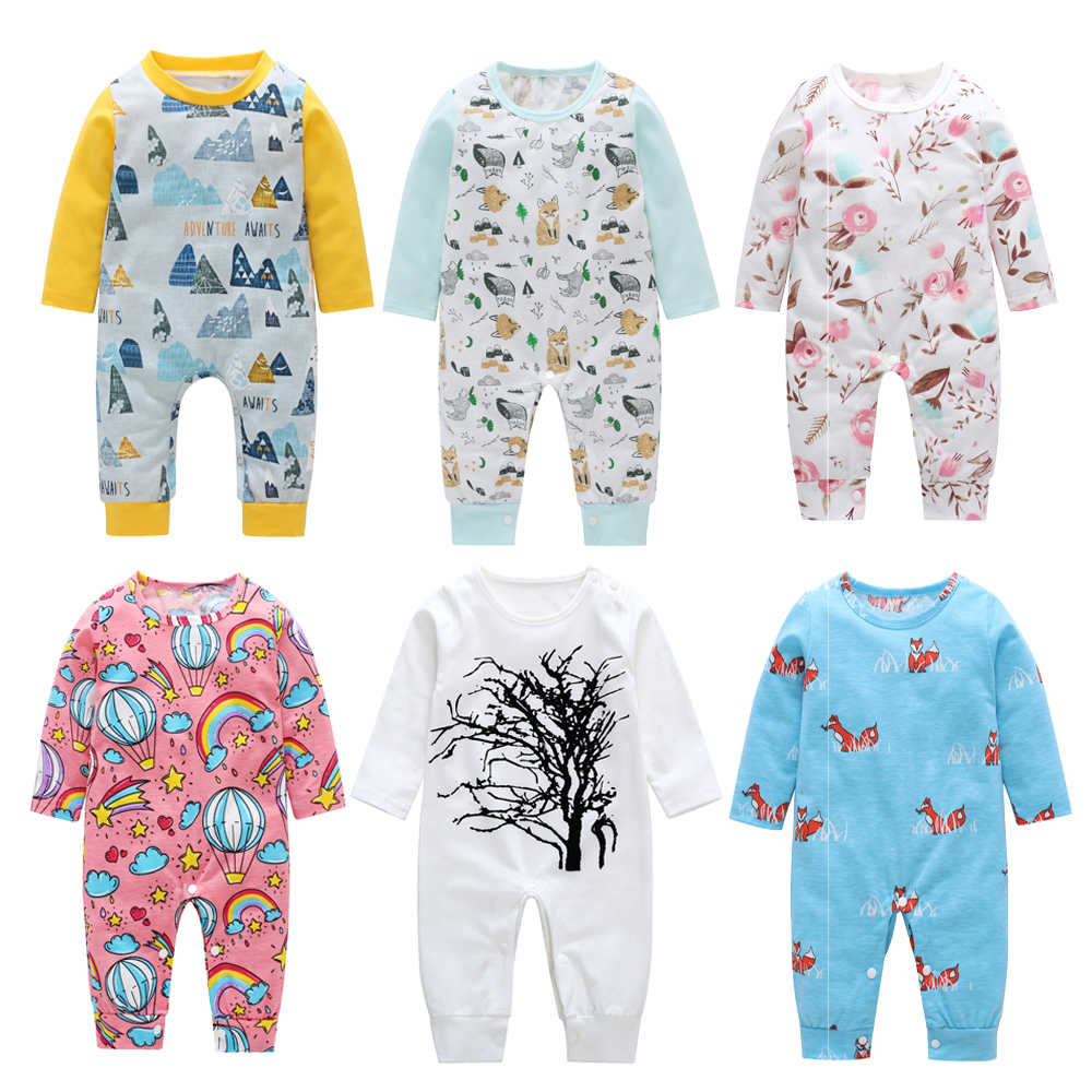 New Newborn Baby Boys Girl Romper elephant Floral Printed Long Sleeve Winter Cotton Romper Kid Jumpsuit Playsuit Outfits Clothes cute baby elephant print romper baby boy girl clothing newborn cotton long sleeve romper jumpsuit 2017 new baby clothing outfits