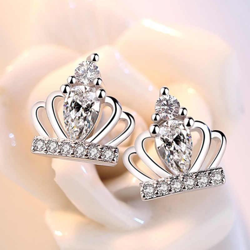 יוקרה אישה סגול לבן קריסטל כתר עגילי שרשרת סט מעולה ילדה נסיכת מסיבת מתנת כסף מצופה תכשיטי סטים