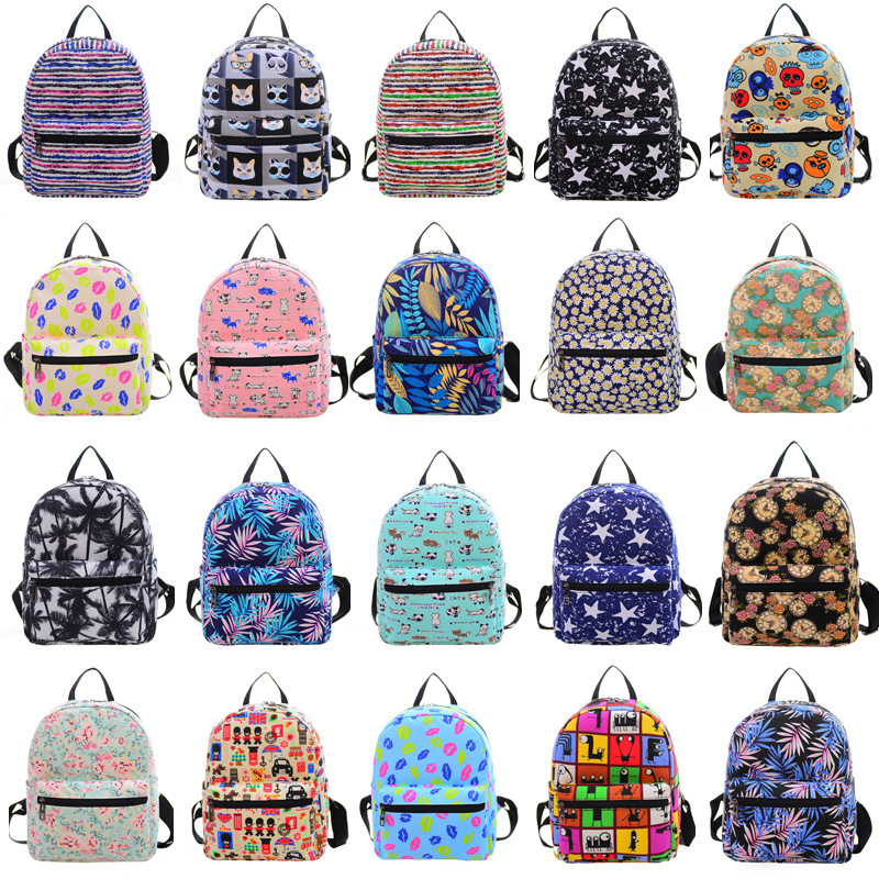 22 Colors Backpacks Fashion Hot  Cartoon Printing Women Boys Girls Mochila Mini Rucksack Canvas Bags Casual Travel Shoulder Bag hot fashion design personality little bear women backpacks cute character shapes cartoon girls schoolbag casual shoulder bag