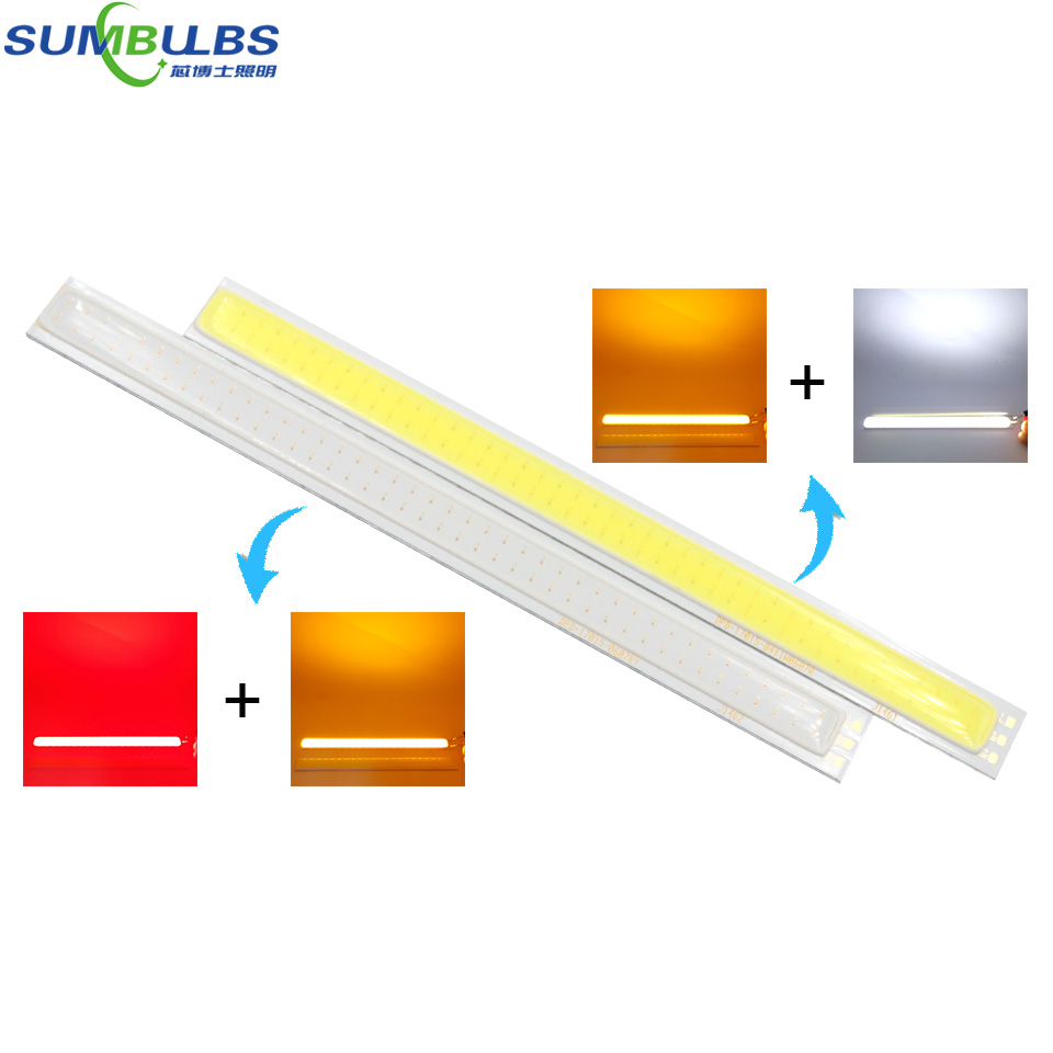 Obedient Sumbulbs 170x15mm Double Colors 2w+2w Cob Led Bar Lights Strip White Red Orange Lighting Source 17cm 12v Lamp Bulb For Diy Outstanding Features Led Bulbs & Tubes