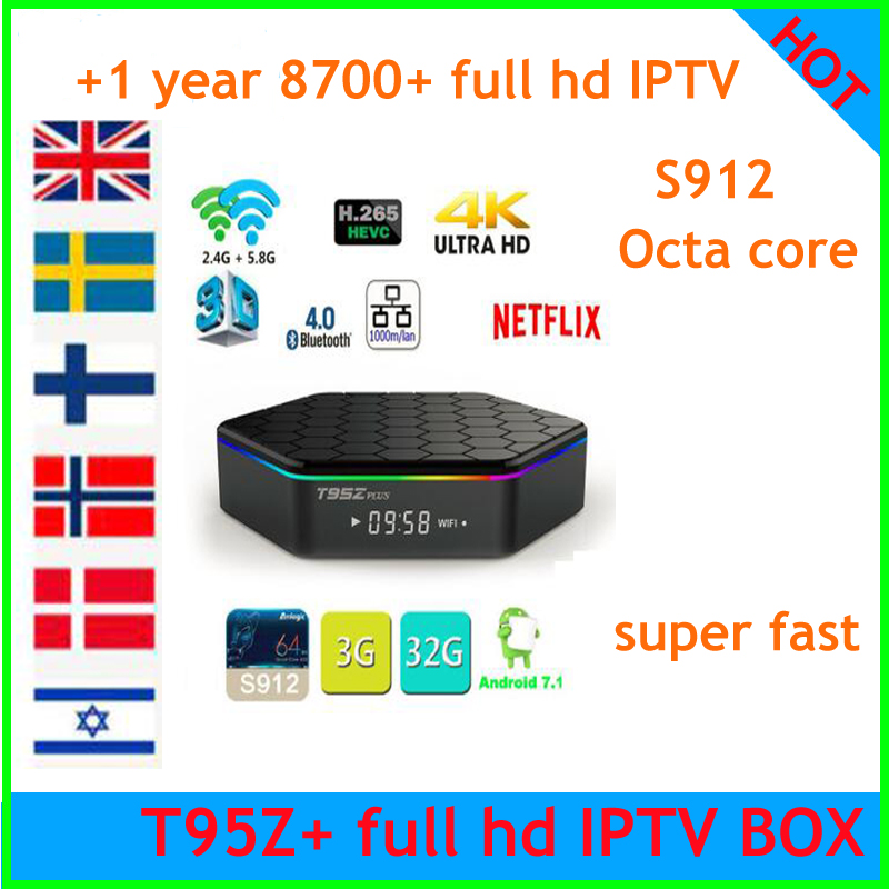 T95Z Plus Smart TV BOX Amlogic S912 Octa Core Android 7 1 TVBOX 2 4G 5GHz