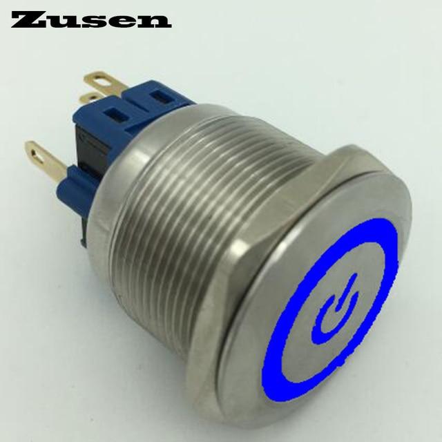 Zusen 25mm Stainless Steel Illuminated Power Symbol Onoff Push