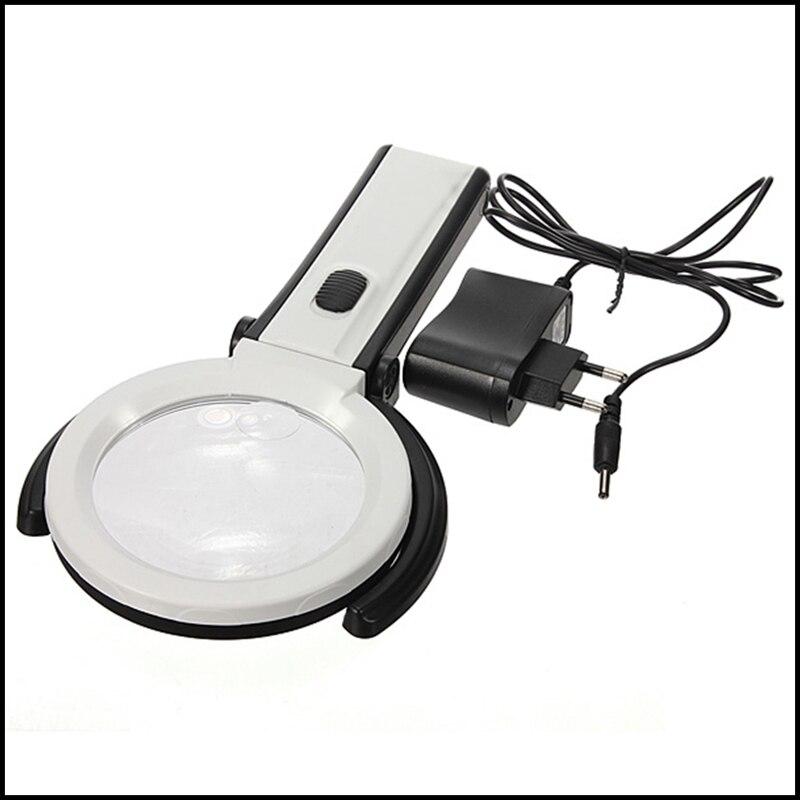 Foldable 2.5X 8X Table Desk Magnifier Magnifying Glass Lens with 10 LED Light + EU Plug