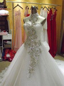 Image 5 - Vestido De novia tul encaje con cuentas De cristal, elegante Vestido De novia, tren largo KA04M, 2020