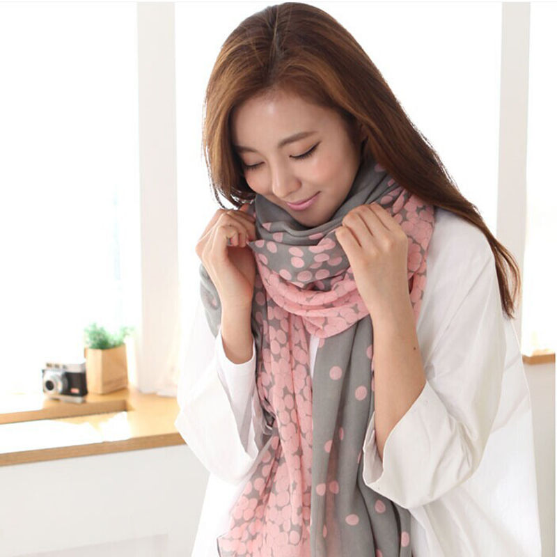 1 pc Chic Fashion Lady Soft Chiffon Cute Dot Scarf Wrap Women's Long Candy Color Voile Neck Shawl Stole