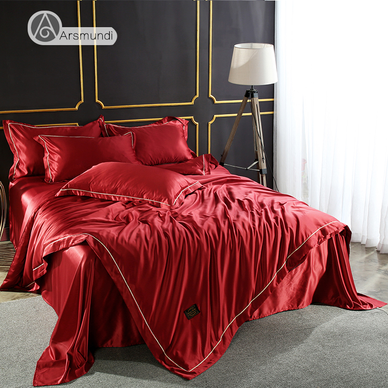 Arsmundi Luxury Red Color Bedding Set 100% Silk Home Textiles Soft Comfortable Duvet Cover Silky Bed Set With Flat Sheet 4pcs