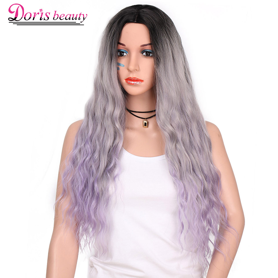 Doris beauty Ombre Gray Purple Wavy Synthetic Wigs for Black Women Long Wigs with Middle Part Cosplay Hair Heat Resistant Fiber