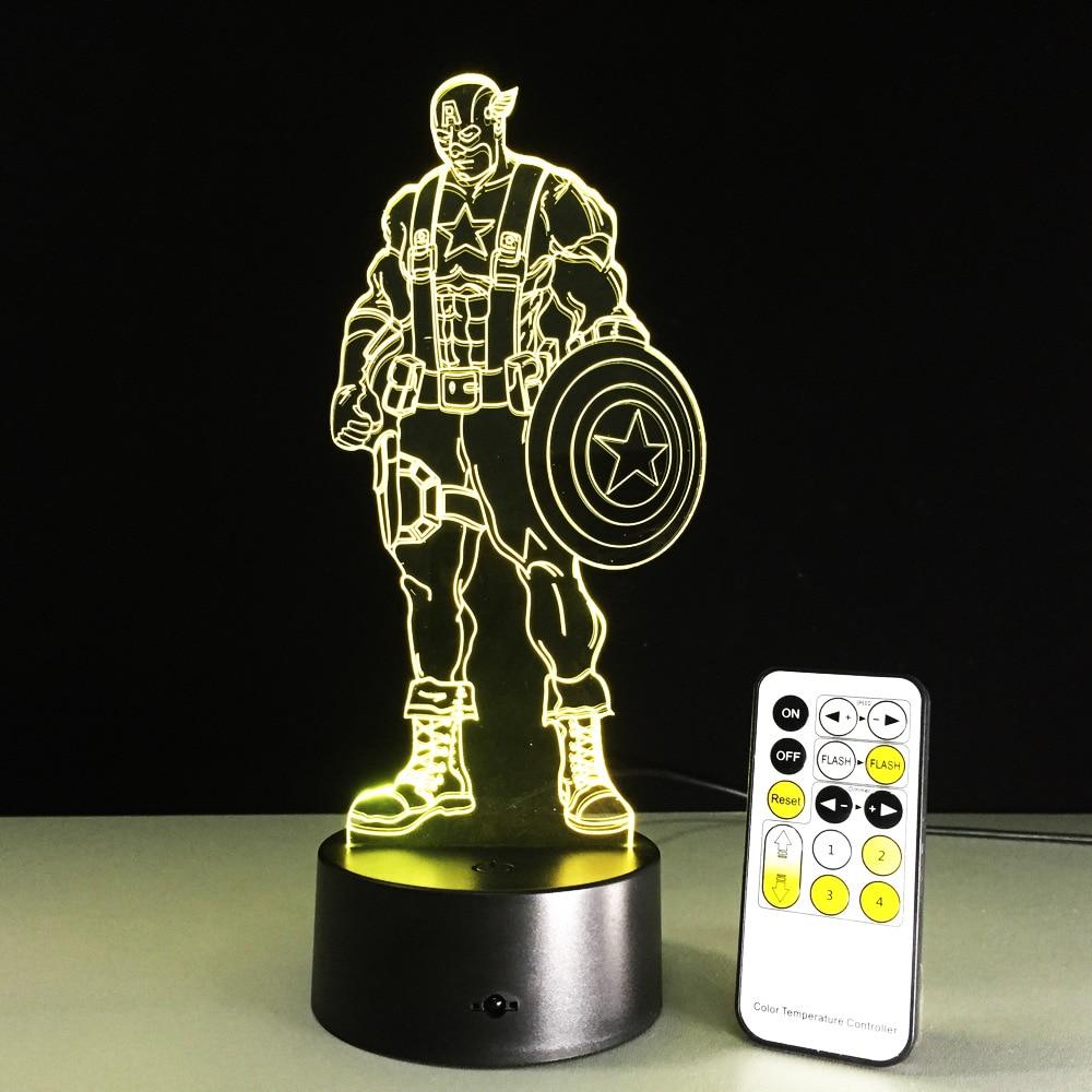Captain America 3D Led Light vizuālas nakts gaismas Avengers akrila USB LED radošs 3D apgaismojuma lukturis Captain America