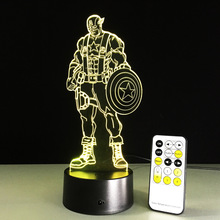 Captain America 3D Led Light Visual Night Lights Avengers Acrylic USB LED Creative 3D Lighting Lamp Captain America