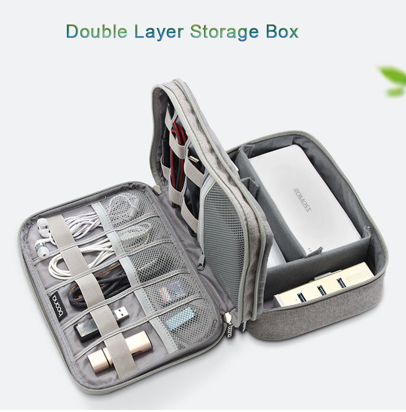 Cable Organizer Bag Portable Case SD Cards Flash Drives Wires Earphones Double Layer Storage Box Travel Electronic Accessories in Storage Bags from Home Garden