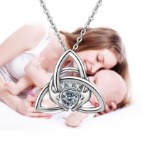 EUDORA Unique 925 Sterling Silver Claddagh Pendant Necklace Fashion Celtics Knot Jewelry For Women Baby & Mom Birthday Gift D177