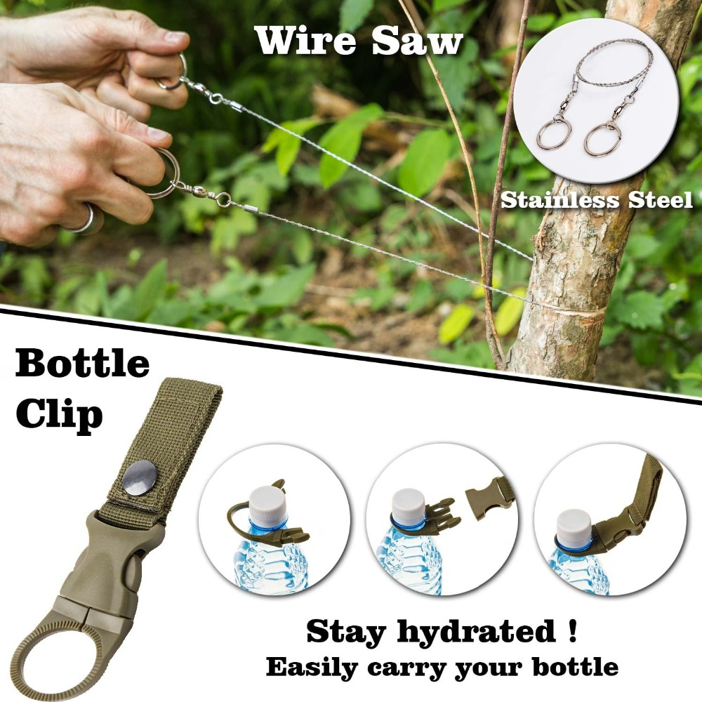 EDC Outdoor Survival Camping Survival Gear Kit Tool Travel Garget With Multifunctional Wristband Paracord Pen Card Spoon Fork (6)