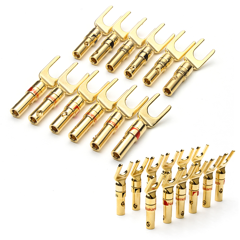 YT 12PCS Gold Plated Y-Type Banana Plugs Male Connector Speaker Wire Cable Connector Audio Loudspeaker Adapter Banana Plug 10pcs lot rca connector gold plated rca male plug adapter high quality speaker lotus plug audio wire connector 5 pairs red blue