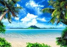 Férias de verão Praia Temático Photo Booth Fundo Azul Céu Ilha Casamento Seaside Palmeiras Cênica Fotografia Fundos