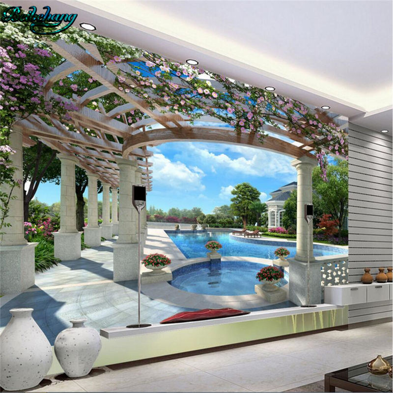 beibehang High - end luxury villa 3D swimming pool backdrop large custom non - woven wal ...