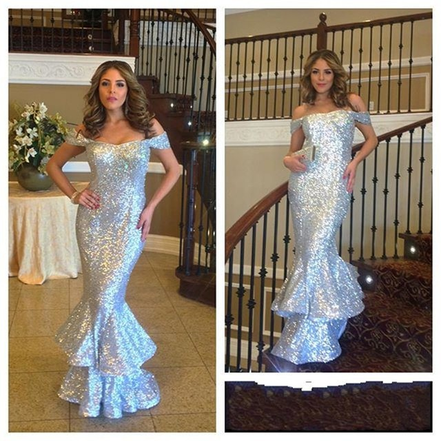 Silver Sequin 2017 Top Selling Mermaid Evening Dress Floor Length Boat Neck  Formal Evening Gowns Prom 47bf4ec626f4