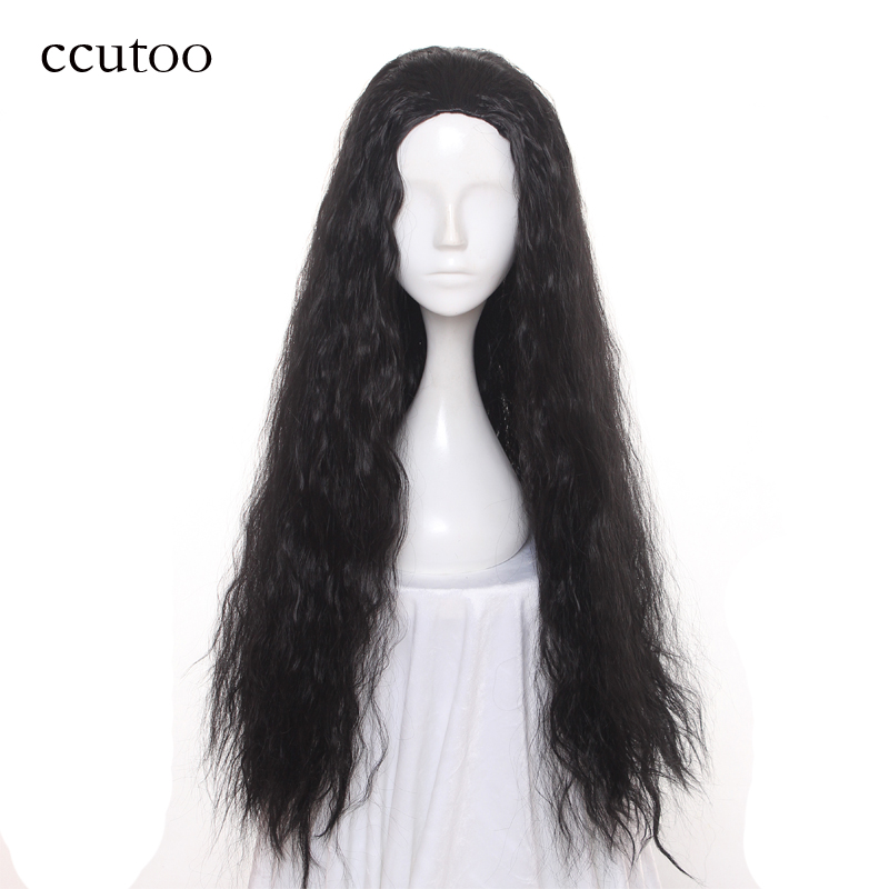 ccutoo 32 Black Long Curly Synthetic Hair Heat Resistance Cosplay Costume Wigs Elastic Lace Party Wigs