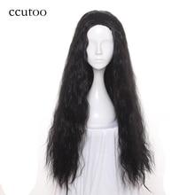 """Ccutoo 32 """"черные длинные вьющиеся синтетические волосы Термостойкость Косплей Костюм Парики эластичного кружева партия парики волос"""
