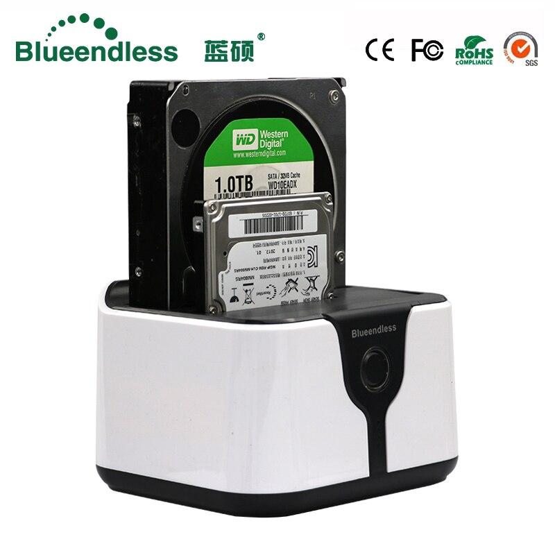 Blueendless sata usb 3.0 carcasa para disco duro ssd 2 bay hdd usb box case hd externo station d'accueil pour disque dur sata ssd en plastique boîte