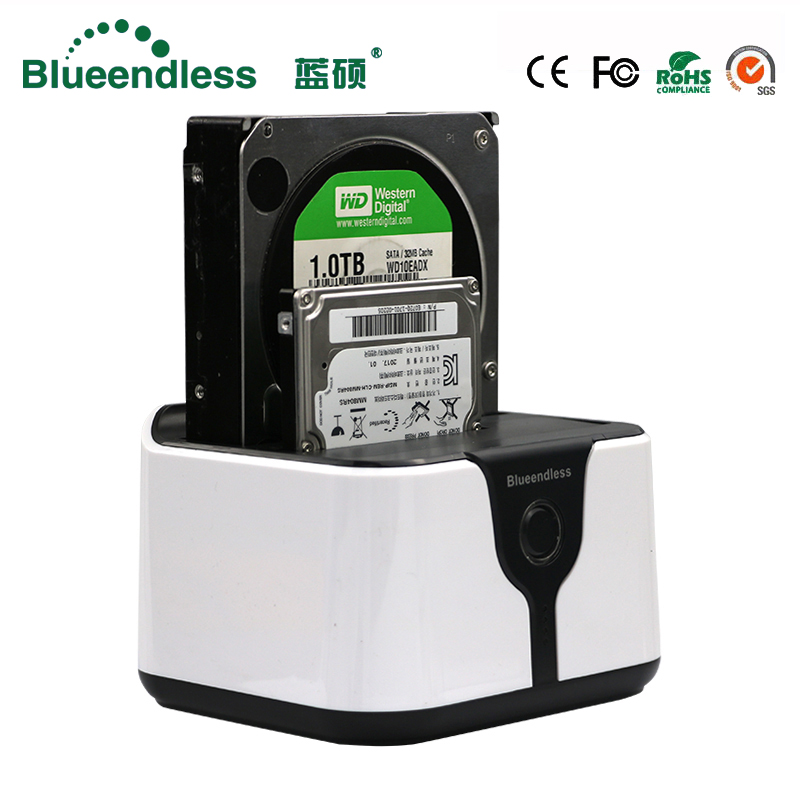 blueendless sata <font><b>usb</b></font> <font><b>3.0</b></font> carcasa para disco duro ssd 2 bay <font><b>hdd</b></font> <font><b>usb</b></font> box <font><b>case</b></font> hd <font><b>externo</b></font> <font><b>hdd</b></font> docking station sata plastic ssd box image
