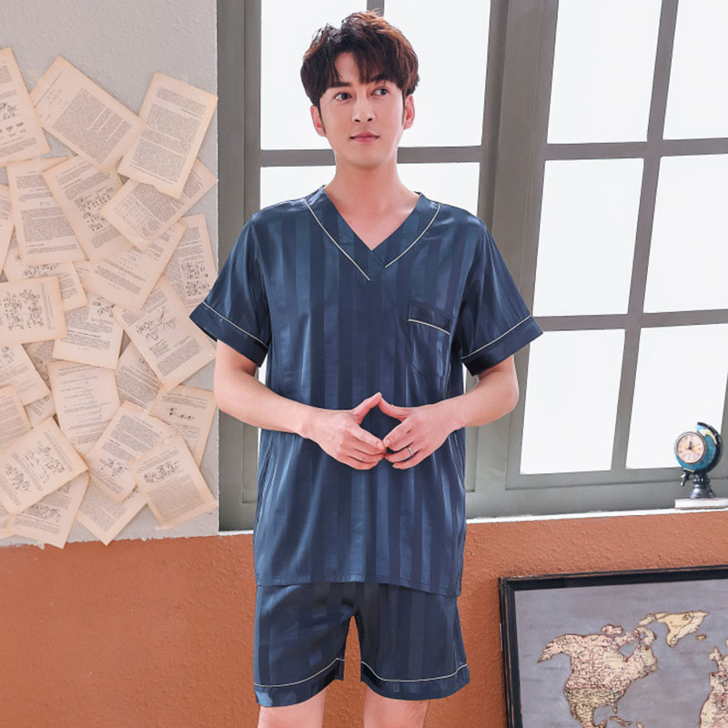 Loose 2pcs Short Sleeve Shirt&shorts V-neck Pajamas Suit Nightwear Men Sleepwear Boy Home Clothes Striped  Intimate  Sleepwear