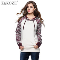 Owlprincess Retro Ethnic Tribal Print Aztc Patchwork Drawstring Casual Hoody Sweatshirt Woman Hooded Jacket Ladies Pullover