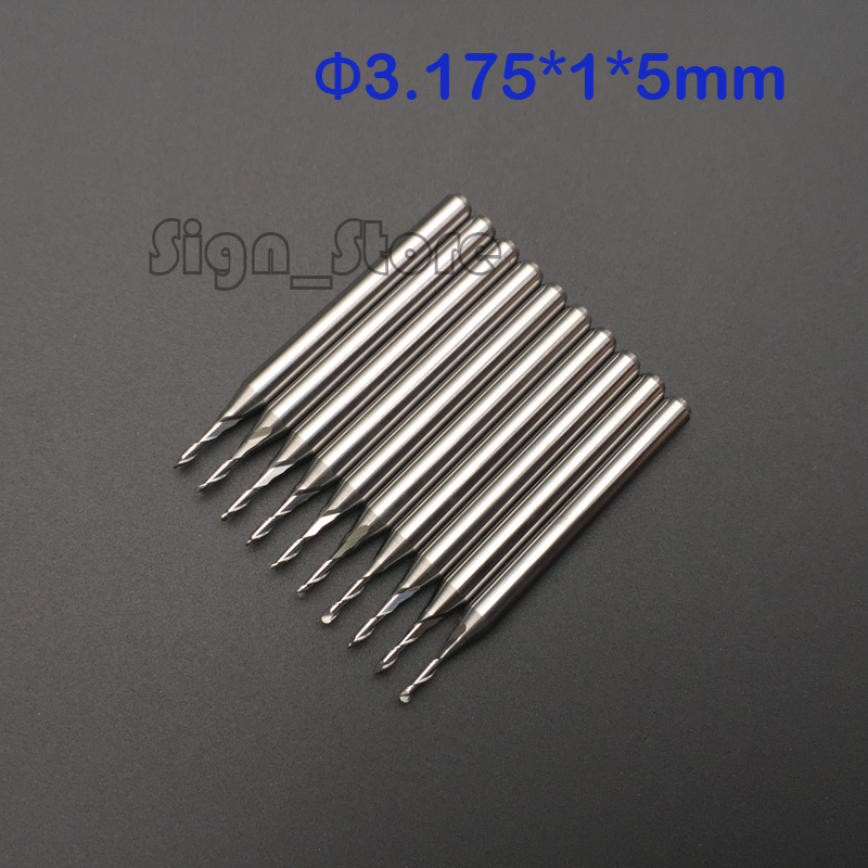 10pcs 3.175*1MM *5MM Two Flutes Ball Nose Bits, Carbide End Mill, Engraving Cutting Tools, CNC Router Cutters, Acryl, PVC 7pcs lot r0 5 r1 r1 5 r2 r2 5 r3 r4 hrc45 2 flutes ball nose end mill spiral bit milling cutter tools cnc router bits knife