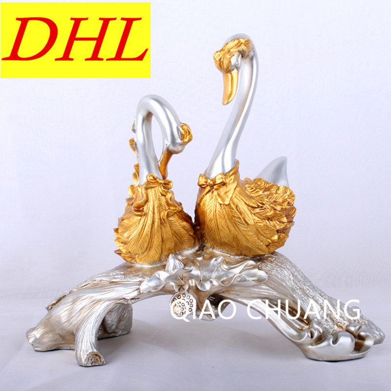 38CM Resin Craftwork European Fashion Couple Antique Swan Home Desk Decorations Hotel Supplies Creative Business Gifts S405 9927 happy old couple resin garniture adornment multicolored 2 pcs