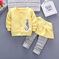 iAiRAY brand baby suit kids kawaii clothes children clothing long sleeve round neck yellow coat baby girl pant suits pants skirt